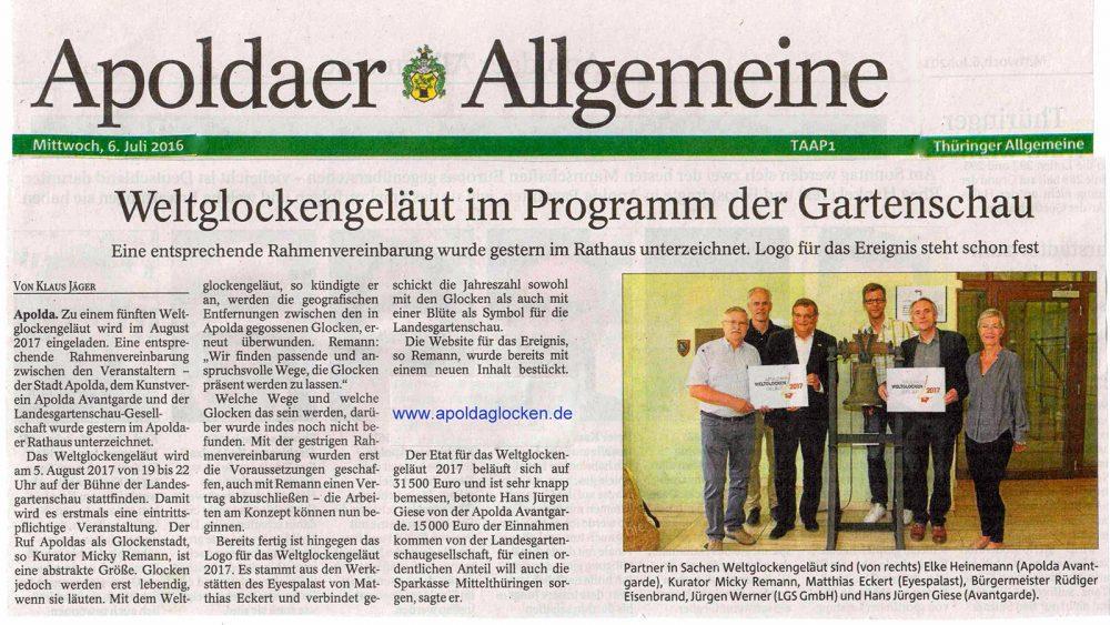 Apoldaer Allgemeine 6.7.2016 - Artikel