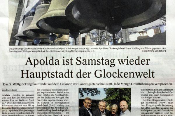 Apolda ist am Samstag wieder Hauptstadt der Glockenwelt